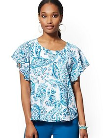 Paisley Flutter-Sleeve Blouse - 7th Avenue - New Y