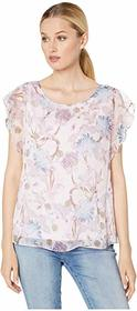 Vince Camuto Flutter Sleeve Poetic Blooms Overlay