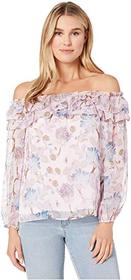 Vince Camuto Long Sleeve Poetic Blooms Ruffled Off