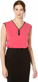 Calvin Klein Sleeveless Top w/ Zip & Piping