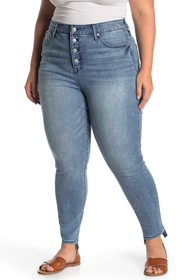 Seven7 Ultra High Rise Button Fly Skinny Jeans (Pl
