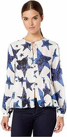 Nicole Miller Spangled Star Puff Sleeve Blouse