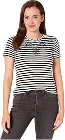 Lucky Brand Stripe Embroidered Tee