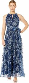 Tahari by ASL Embroidered Vine Floral Gown with Ha