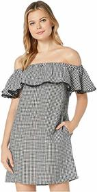 Tommy Bahama Gingham Over the Shoulder Ruffle Dres