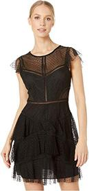 BCBGMAXAZRIA Point D'Espirit Ruffle Short Cocktail