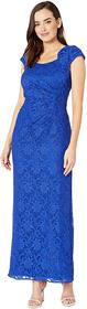 Tahari by ASL Stretch Sequin Lace Cap Sleeve Gown