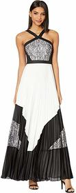 BCBGMAXAZRIA Pleated Lace Evening Gown