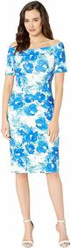 Calvin Klein Off Shoulder Floral Print Sheath