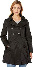 Via Spiga Double Breasted Hooded Fit and Flare w/