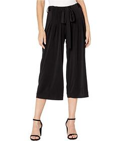 eci Cropped Wide Leg Pants with Waist Tie Detail