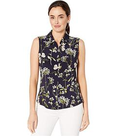 Tommy Hilfiger Floral Logo Zip Sleeveless Knit Top