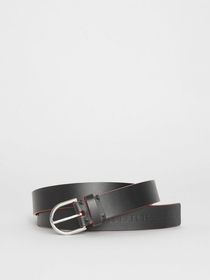 Burberry Contrast Edge Leather D-ring Belt in Blac