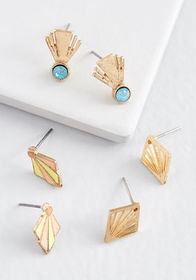 Lustrous Touch Earring Set Gold