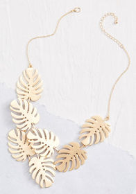 Tropical Fronds Statement Necklace Gold