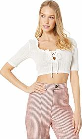 BCBGeneration Lace-Up Short Sleeve Top
