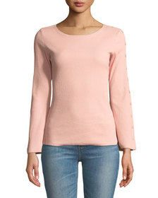 FEW MODA Button-Sleeve Ribbed Slim Top