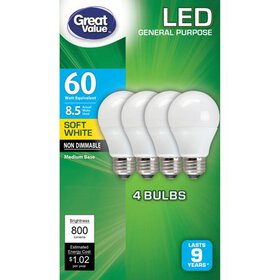 Great Value LED Light Bulb, 8.5W (60W Equivalent),