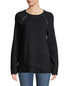 Neiman Marcus Zipper-Shoulder Wrapped-Hem Sweater