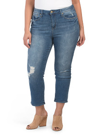SEVEN7 Plus High Rise Straight Crop Jeans