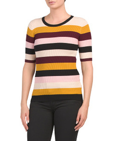PHILOSOPHY Elbow Sleeve Multicolor Stripe Sweater