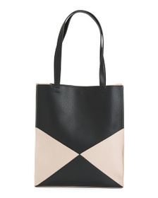 BARNEYS NEW YORK Leather Lined Color Block Tote