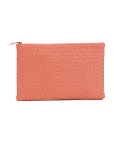 BOTTEGA VENETA Made In Italy Leather Large Clutch