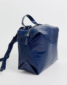 French Connection Luiza patent croc cube handbag
