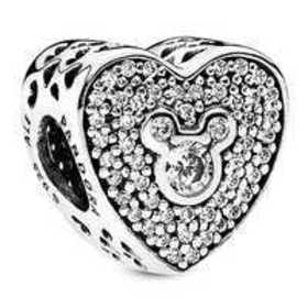 Disney Mickey and Minnie Mouse Heart Charm by Pand