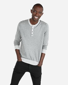 Express tipped henley sweater