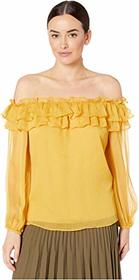Vince Camuto Long Sleeve Ruffled Off Shoulder Yory
