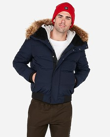 Express navy faux fur lined hooded bomber jacket