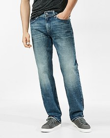 Express relaxed medium wash stretch jeans
