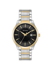 Men's Two-Tone Black Dial Watch 98B290