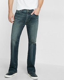 Express loose boot dark wash stretch jeans