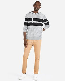 Express marled chest stripe hooded sweater