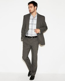 Express classic check wool-blend stretch suit pant