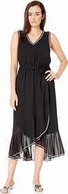 Vince Camuto Belted Embroidered Chiffon Dress
