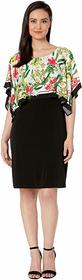 Calvin Klein Sleeveless Print Dress w/ Overlay