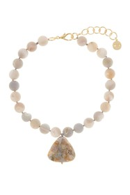 Nest Jewelry Gray Druzy Agate with Needle Agate Pe