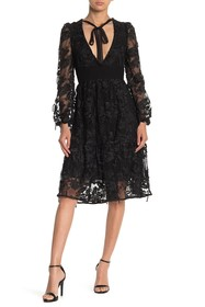 Cynthia Rowley Harlow Tie Front Lace Long Sleeve M