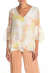Lola Made In Italy Embroidered V-Neck Bell Sleeve