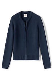 Lands End Girls Cotton Modal Zip-front Cardigan Sw