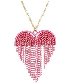 Betsey Johnson Fringe Heart Pendant Long Necklace