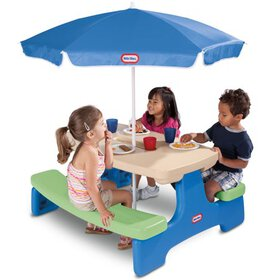 Little Tikes Easy Store Kids Picnic Table with Umb