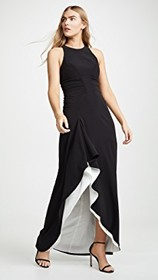 Halston Heritage High Neck Drape Gown with Ruching