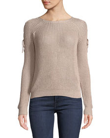 Anna Cai Lace-Up-Shoulder Pullover Sweater