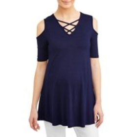 Maternity Cold Shoulder Criss Cross Front Top - Av on sale at Walmart