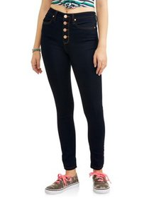 Juniors' Classic High Rise Exposed Button Skinny J