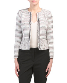 TAHARI BY ASL Petite Boucle Jacket With Frayed Tri